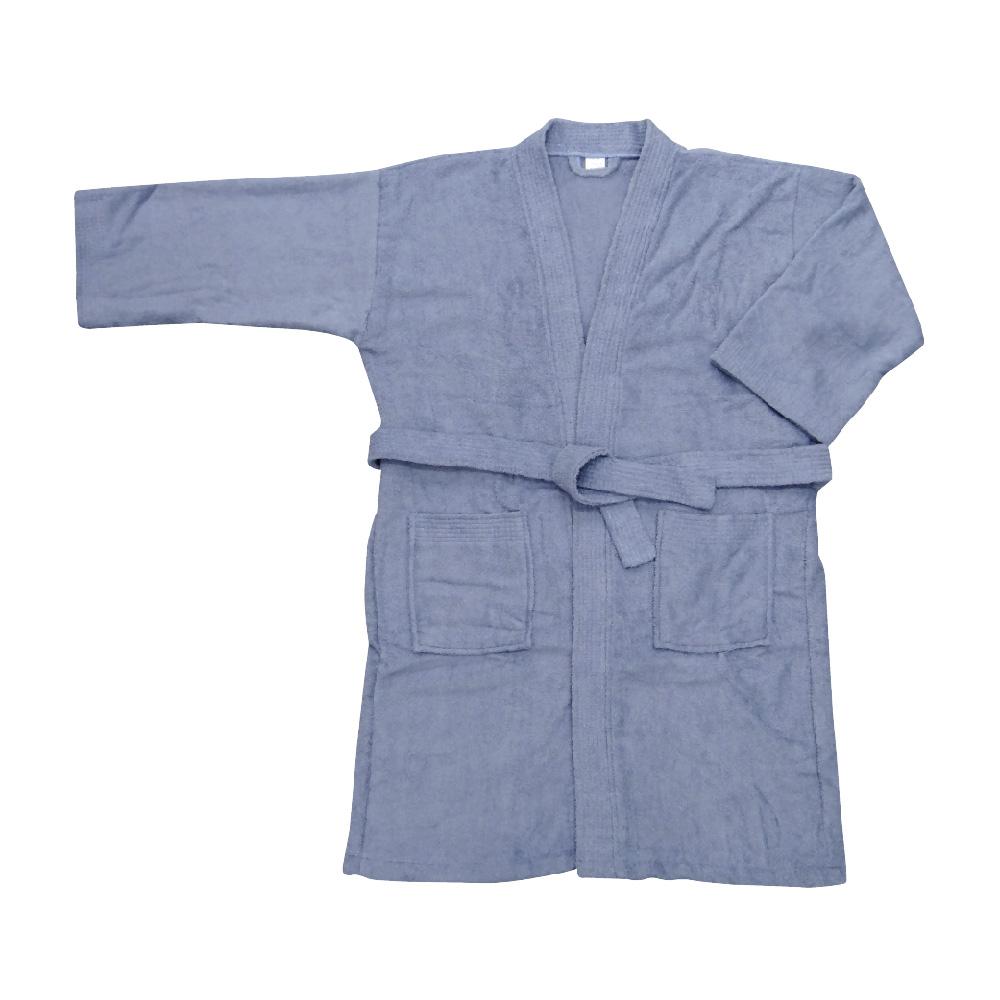 素色浴袍-灰藍