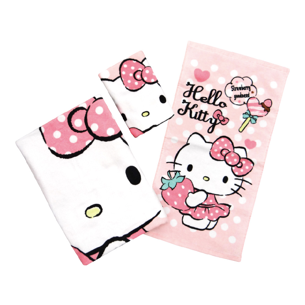 凱蒂貓-毛巾系列-最愛草莓