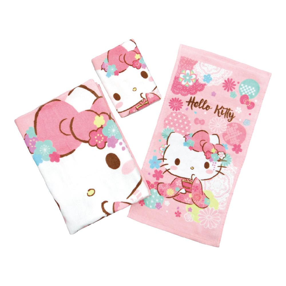 凱蒂貓-毛巾系列-和風櫻花