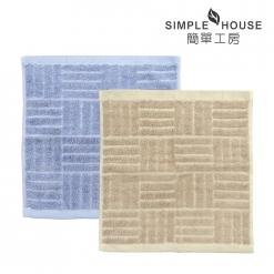 印度棉 凹凸緹花 方巾-經典