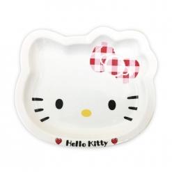 凱蒂貓 造型陶瓷盤10吋-格紋款