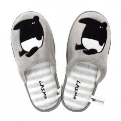 馬來貘絨毛室內拖鞋-灰