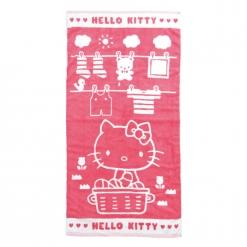凱蒂貓 雙色提花 浴巾-曬衣服