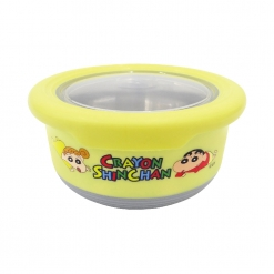 蠟筆小新 不鏽鋼防滑隔熱碗(小)-黃