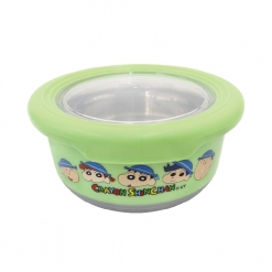 蠟筆小新不鏽鋼防滑隔熱碗(小)-綠