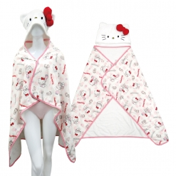 凱蒂貓 造型連帽浴披(成人)-草莓