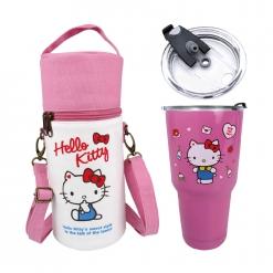 凱蒂貓 冰霸杯&帆布提袋組-粉