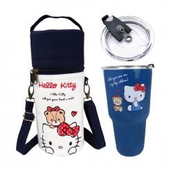 凱蒂貓 冰霸杯&帆布提袋組-藏青