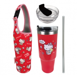 凱蒂貓 冰霸杯&提袋組-派對