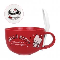 凱蒂貓 湯杯(附湯匙)-咖啡